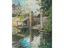 Gabriel VIE 1888-1973  La Porte d'eau  Huile sur toile signée en bas à droite  55 x 46