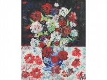 Henri D'ANTY, né en 1910  Bouquet de fleurs  Huile sur toile signée en bas à droite  100 x 81