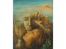 * Marguerite BORDET XX°   A l'unisson  Huile sur toile signée et datée en bas à gauche  80 x 61