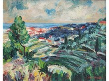 Jacques BUCHHOLZ, née en 1909  Paysage des environs de Nice, vers 1930   Huile sur toile signée en bas à droite   73 x 92