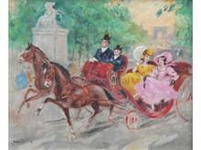 * Marcel BLOCH, né en 1884   Calèches sur les champs Elysées  Huile sur toile signée en bas à gauche  37 x 46