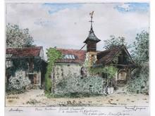 * Marcel JACQUE XIX-XX°  Femme à Barbizon, 3 mai 1940   Gravure en couleurs signée, dédicacée et datée en bas  19 x 25