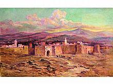 Léon GEILLE DE SAINT-LÉGER, né en 1864    L'arrivée de la caravane   Huile sur toile signée en bas à gauche   38 x 61   (Restaurations)