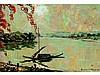 Henri MEGE 1909-1984   Soir à Hué (Amman) sur la rivière des parfums    Huile sur toile signée en bas gauche   38 x 55