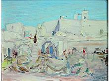 Jules LELLOUCHE 1903-1963   Djerba, Marché au pied des remparts, 44   Huile sur panneau signée, située et datée en bas à droite   18 x 23