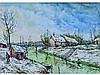* Robert L.P. LAVOINE 1916-1999   Environs de Honfleur   Aquarelle signée   34 x 47
