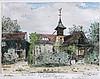 * Marcel JACQUE XIX-XX°   Ferme à Barbizon, 3 mai 1940    Gravure en couleurs signée, dédicacée et datée en bas   19 x 25