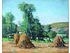 André Des FONTAINES 1869-1910   Scène de Pâturage   Paysage au meules de foin   Deux pastels en pendant signés   22 x 26