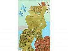 Alecos FASSIANOS, né en 1935   Pêcheur doré    Lithographie à la feuille d'or réhaussée de la main de l'artiste et numérotée 17/40 signée en haut à gauche   104 x 63