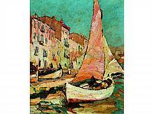Louis PASTOUR 1876-1948   La voile rose et quai St Pierre    Huile sur toile signée en bas à gauche     46 x 38