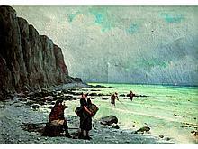 Jules François AMBROISE XIX°-XX°   Les pêcheurs à pied en Bretagne   Huile sur toile signée en bas à gauche   46 x 64