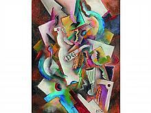 Patrick LEROY, né en 1948    Composition à la bouteille    Huile sur panneau signée en bas à droite    67 x 53