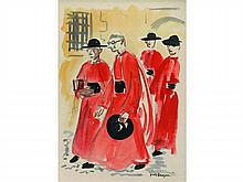 Yves BRAYER 1907-1990   Les Prélats   Aquarelle signée en bas à droite   A vue 26 x 18,5