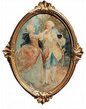 Antoine CALBET 1860-1944   Couple galant dans l'esprit Louis XV.   Aquarelle ovale signée en bas à gauche    A vue :  30 x 21,5