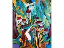 Patrick LEROY, né en 1948       LES ÉLÉGANTES PRÈS DU VILLAGE    Huile sur panneau signée en bas à droite    73 x 60