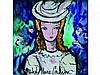Michel Marie POULAIN 1906-1991   Portrait de dame     Céramique signée en bas au milieu, dédicacée au dos avec un dessin    14,5 x 14,5