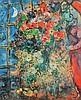 Marc CHAGALL 1887-1985   Personnages devant des fleurs   Estampe signée en bas à droite   32 x 26,5