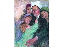 Lucien LEVY-DHUMER 1865-1953   Portrait de Bretonne à la coiffe avec enfants   Pastel signé en bas à gauche   80 x 60