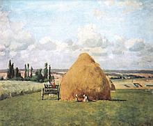 Camille PISSARRO 1830-1903   Travaux des champs   Estampe signée en bas à droite   20 x 24,5