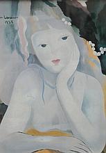 Marie LAURENCIN 1883-1956   Jeune fille   Estampe signée en haut à gauche   44 x 31