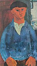 Amedeo MODIGLIANI 1884-1920   Jeune homme au pull bleu   Estampe   13,5 x 8,5