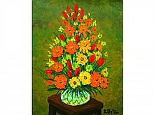 Emmanuel BELLINI 1904-1989   Bouquet de fleurs, 1988   Huile sur toile signée en bas à droite, titrée et datée au dos   94 x 73