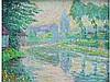 Yvonne SERRUYS 1874-1953   Menin Juillet 5 heures matin   Menin 5 heures soir   Deux huiles sur panneau monogrammées en bas à droite, signées et titrées au dos en pendant   29 x 37,5