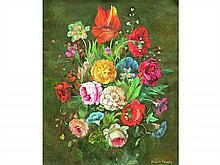 Jacques FABRÈS XX°   Bouquet de fleurs   Huile sur toile signée en bas à droite   53 x 45