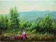 Jules François AMBROISE XIX°-XX°   Paysage animé   Huile sur toile signée en bas à droite   46 x 61