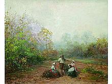 Jules François AMBROISE XIX°-XX°   Paysage animé   Huile sur toile signée en bas à droite   50 x 61