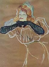 Henri DE TOULOUSE-LAUTREC 1864-1901   Femme aux gants noirs   Estampe   20 x 15