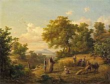 Landschaft mit Kornernte