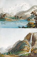 Vue du Lac de Chede et du Mont Blanc und Vue de la Cascade d'Arpenas