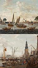 Schifffahrt auf Buitenamstel in Amsterdam und Blick auf Amsterdam mit der Oude Schans und dem Montelbaanstoren