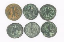 Six bronze diobols of Ptolemy I-II