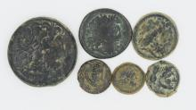 Six bronze coins of Ptolemy I-II