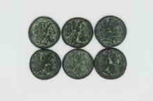 Six bronze coins of Ptolemy III from the Tyre Mint