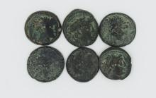 Six bronze coins of Demetrios II with galley