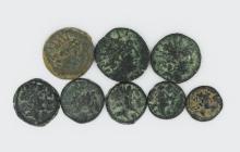 Eight bronze coins of Antiochus VIII