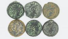 Six bronze coins of Alexander II Zabinas
