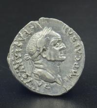 A Roman denarius of Vespasian