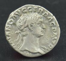 A Roman denarius of Trajan