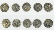 Five Roman denarii of the Severan Dynasty