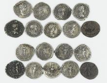 Nine Roman denarii of Geta and Caraclla