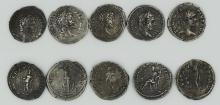 Five Roman denarii of Septimius Severus and Caracalla