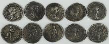 Five Roman denarii of Geta as Caesar