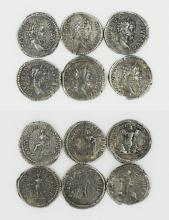 Six Roman denarii of Septimius Severus