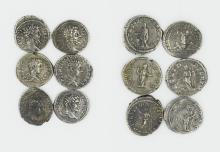 Six Roman denarii of Septimius Severus and his sons, Caracalla and Geta.
