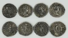 A four coin set of Julia Domna and her sons Caracalla and Geta