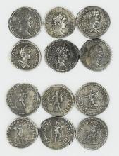 Six Roman denarii of Caracalla